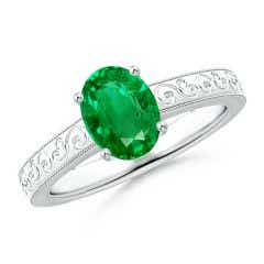 Vintage Inspired Oval Emerald Ring with Engraved Shank