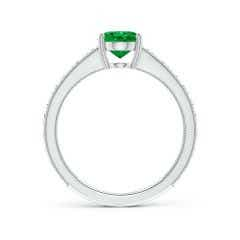 Toggle Vintage Inspired Oval Emerald Ring with Engraved Shank