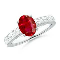Vintage Inspired Oval Ruby Ring with Engraved Shank