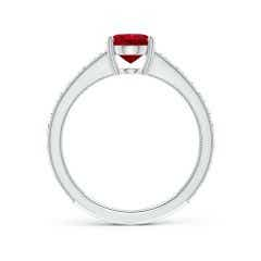 Toggle Vintage Inspired Oval Ruby Ring with Engraved Shank