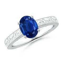 Vintage Inspired Oval Sapphire Ring with Engraved Shank