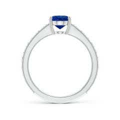 Toggle Vintage Inspired Oval Sapphire Ring with Engraved Shank