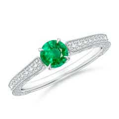 Vintage Inspired Round Emerald Ring with Engraving