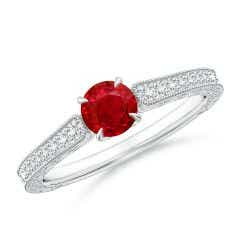 Vintage Inspired Round Ruby Ring with Engraving