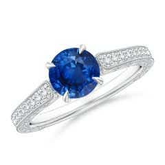 Vintage Inspired Round Sapphire Ring with Engraving