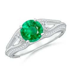 Vintage Inspired Round Emerald & Diamond Three Stone Ring