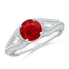 Vintage Inspired Round Ruby & Diamond Three Stone Ring