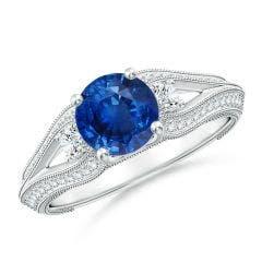 Vintage Inspired Round Sapphire & Diamond Three Stone Ring