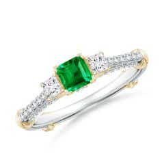 Vintage Inspired Square Emerald Criss-Cross Motif Ring