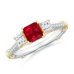 Vintage Inspired Square Ruby Criss-Cross Motif Ring