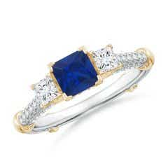 Vintage Inspired Square Sapphire Criss-Cross Motif Ring