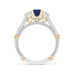 Toggle Vintage Inspired Square Sapphire Criss-Cross Motif Ring