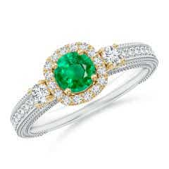 Vintage Inspired Round Emerald Halo Ring with Filigree