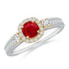 Vintage Inspired Round Ruby Halo Ring with Filigree