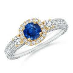 Vintage Inspired Round Sapphire Halo Ring with Filigree