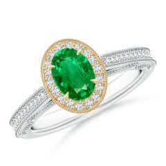 Vintage Inspired Oval Emerald Halo Ring with Milgrain