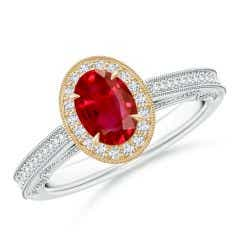 Vintage Inspired Oval Ruby Halo Ring with Milgrain