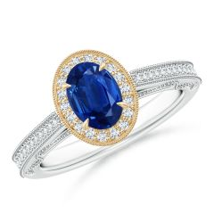 Vintage Inspired Oval Sapphire Halo Ring with Milgrain