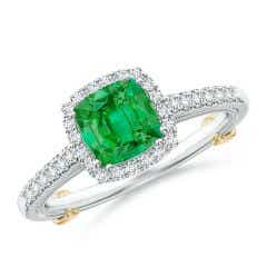 Vintage Inspired Emerald & Diamond Halo Ring with Filigree