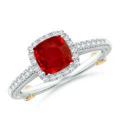 Vintage Inspired Ruby & Diamond Halo Ring with Filigree