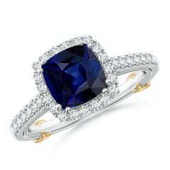 Vintage Inspired Sapphire & Diamond Halo Ring with Filigree