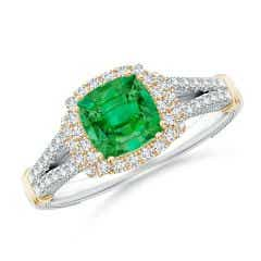 Vintage Inspired Cushion Emerald Split Shank Halo Ring
