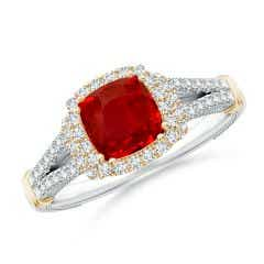 Vintage Inspired Cushion Ruby Split Shank Halo Ring