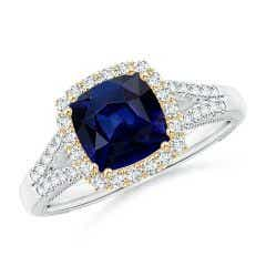 Vintage Inspired Cushion Sapphire Split Shank Halo Ring