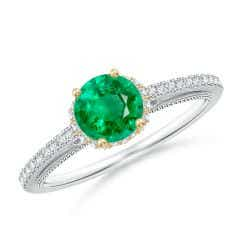 Vintage Inspired Round Emerald & Diamond Filigree Ring