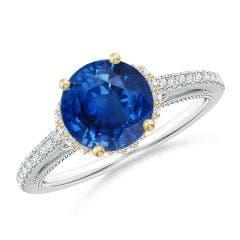 Vintage Inspired Round Sapphire & Diamond Filigree Ring
