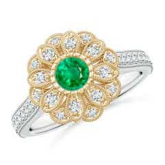 Vintage Inspired Emerald Floral Halo Ring with Milgrain