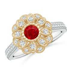 Vintage Inspired Ruby Floral Halo Ring with Milgrain