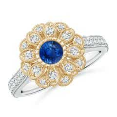 Vintage Inspired Sapphire Floral Halo Ring with Milgrain