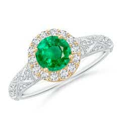 Vintage Inspired Round Emerald Halo Ring with Ornate Shank