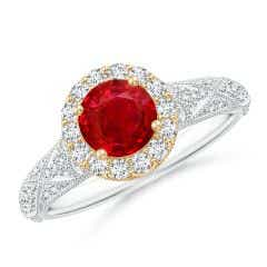 Vintage Inspired Round Ruby Halo Ring with Ornate Shank