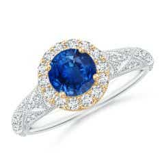 Vintage Inspired Round Sapphire Halo Ring with Ornate Shank