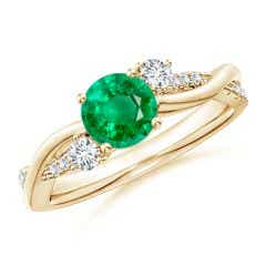 Nature Inspired Emerald & Diamond Twisted Vine Ring