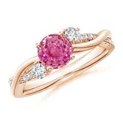 Nature Inspired Pink Sapphire & Diamond Twisted Vine Ring