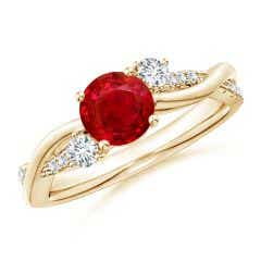 Nature Inspired Ruby & Diamond Twisted Vine Ring