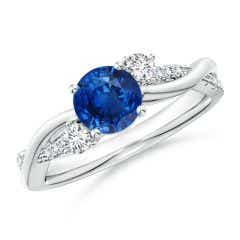 Nature Inspired Blue Sapphire & Diamond Twisted Vine Ring