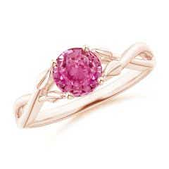 Nature Inspired Pink Sapphire Crossover Ring with Leaf Motifs
