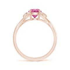 Toggle Nature Inspired Pink Sapphire Crossover Ring with Leaf Motifs