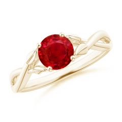 Nature Inspired Ruby Crossover Ring with Leaf Motifs