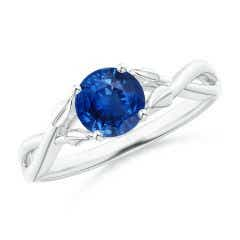 Nature Inspired Blue Sapphire Crossover Ring with Leaf Motifs