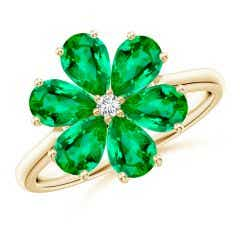 Nature Inspired Emerald & Diamond Flower Ring