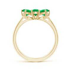 Toggle Nature Inspired Emerald & Diamond Flower Ring