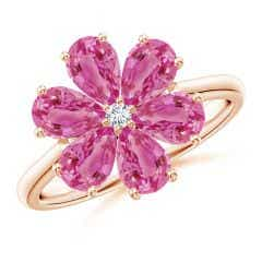 Nature Inspired Pink Sapphire & Diamond Flower Ring