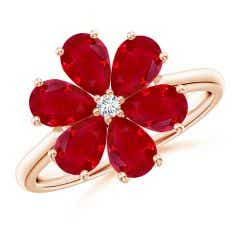 Nature Inspired Ruby & Diamond Flower Ring