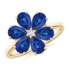 Nature Inspired Blue Sapphire & Diamond Flower Ring