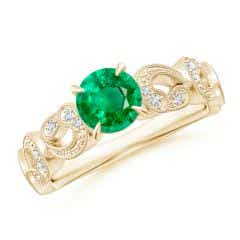 Nature Inspired Emerald & Diamond Filigree Ring